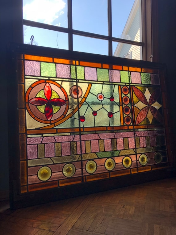 PAIR Of Antique Stained Glass, Large Mid 1800s Kokomo Stained Glass Windows