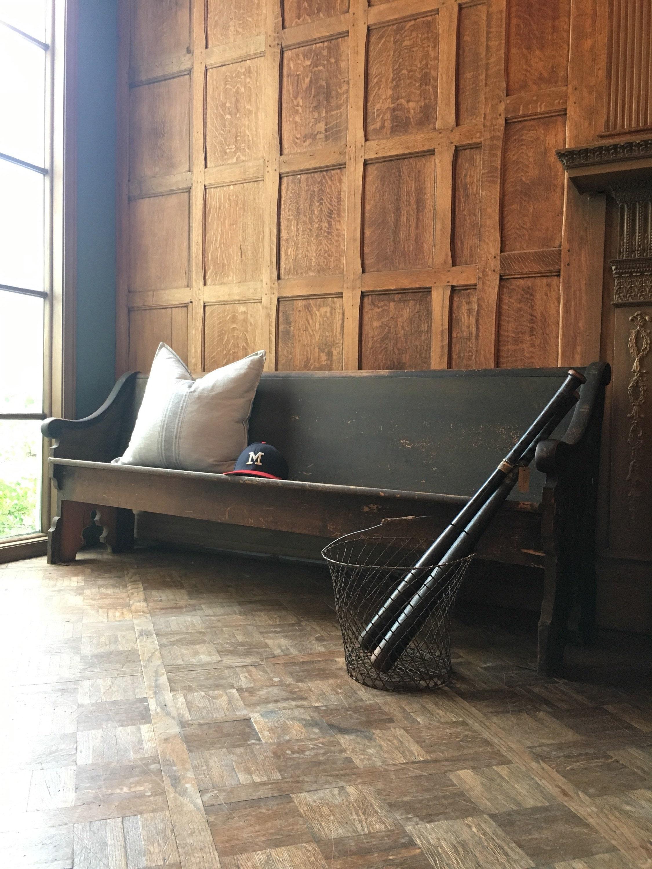 Sensational Antique Church Pew Farmhouse Bench Primitive Entryway Caraccident5 Cool Chair Designs And Ideas Caraccident5Info