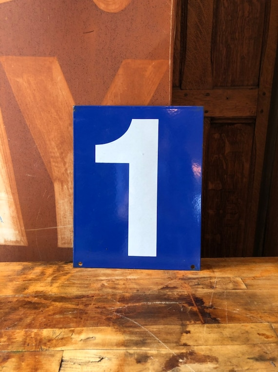 Vintage Gas Station Number, Double Sided Blue And White Sign Number, Lucky Number 1, Lucky Number 0, Number Decor, Number Wall Decor