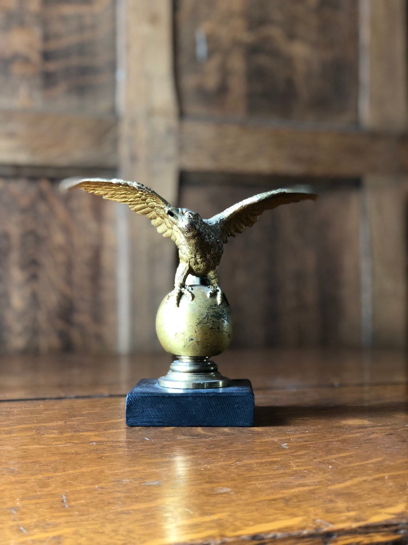 Antique Eagle Figurine, Brass Eagle Flag Pole Topper, American Eagle Statue, Americana Decor, Industrial Office, used for sale