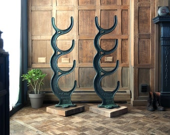 Industrial Sculpture, Antique Cast Iron Material Racks, 5 FT Tall Line Shaft Rod Storage Rack, Industrial Decor, Industrial Office
