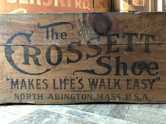 LARGE Antique Wood Crate, Wooden Shoe Crate, The Crossett Shoe, Large Advertising Shipping Crate, Toy Storage Crate