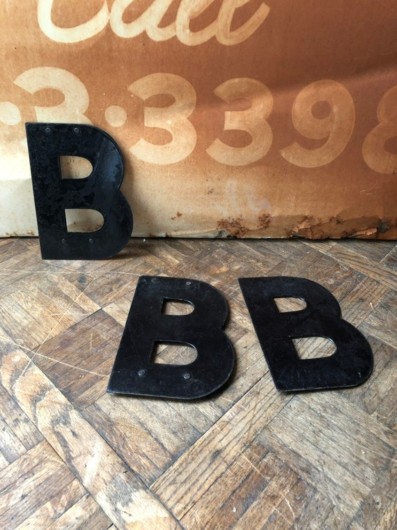 "Vintage Letter, 10"" Porcelain Marquee Letters, Letter B, Vintage Initial, Sign Letter, Initial Decor, Letter Wall Decor"