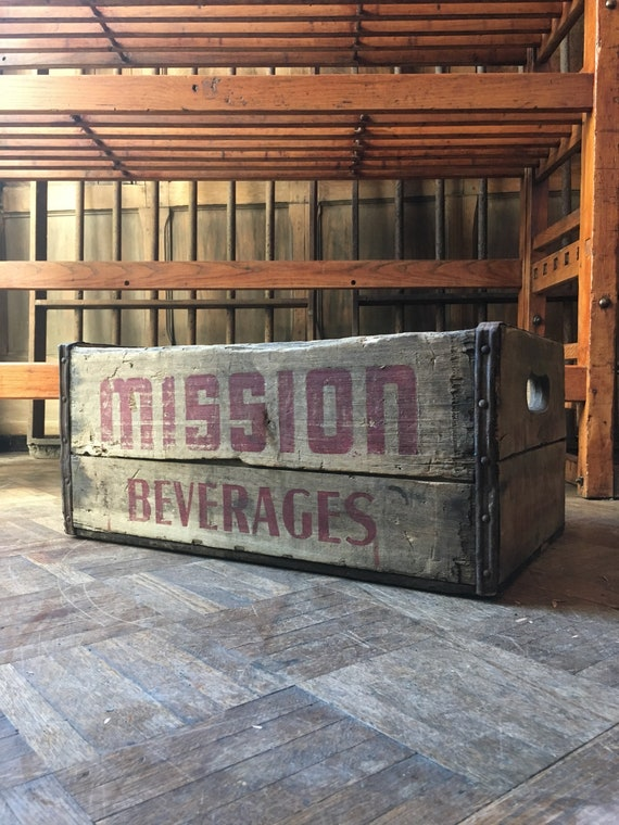 Vintage Wood Crate, Mission Beverages Wooden Crate, Rustic Industrial Storage Decor
