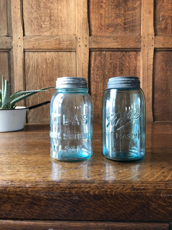 Vintage Mason Jars, Pair of Jars With Zinc Lids, Blue Ball Atlas Jars, Rustic Storage Home Decor
