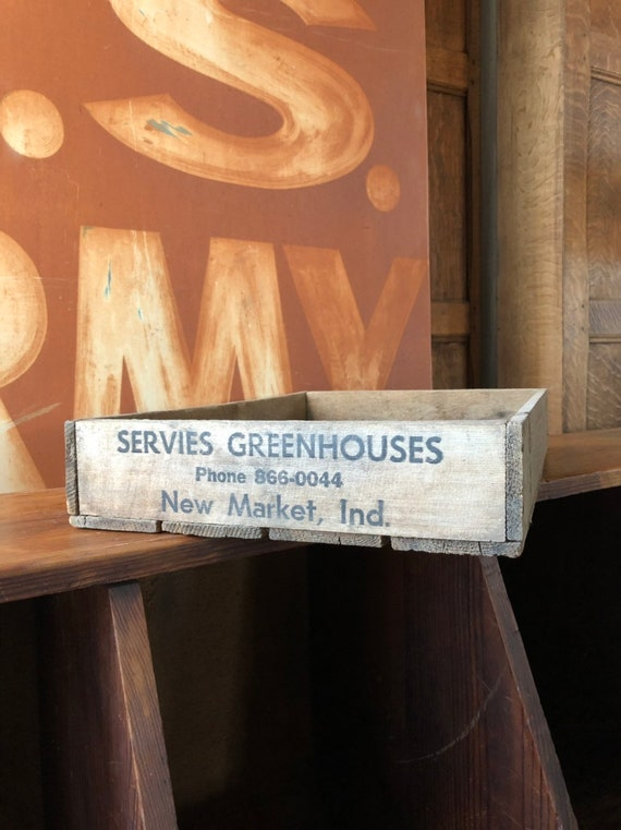 Vintage Wood Crate, Servies Greenhouses New Market Indiana, Wooden Tray, Rustic Wood Storage Decor
