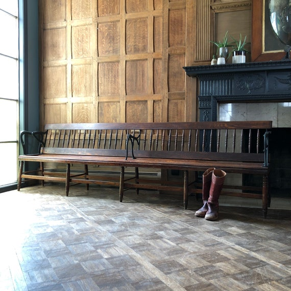 Large Antique Wood Bench, Railroad Station Bench, Wood and Iron Bench, Oak Deacons Bench, Wood Entryway Bench