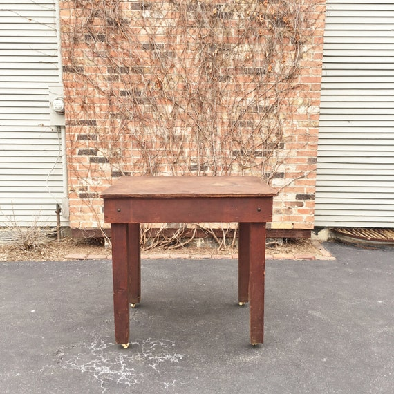 1940s Industrial Workbench Table, Machinist Workbench, Industrial Standing Desk