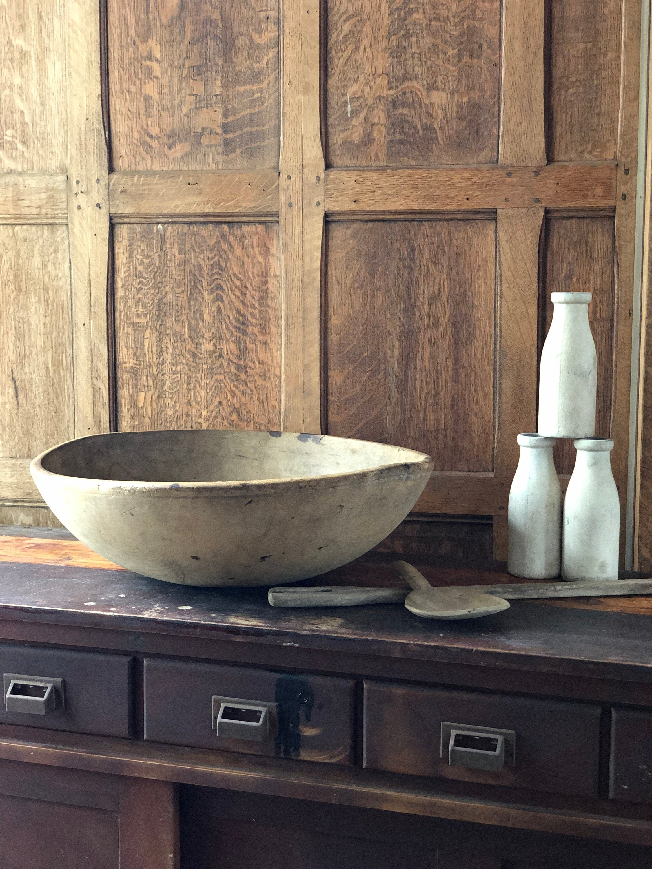 Large Antique Wood Bowl, 22 Dough Bowl, Primitive Wood ...