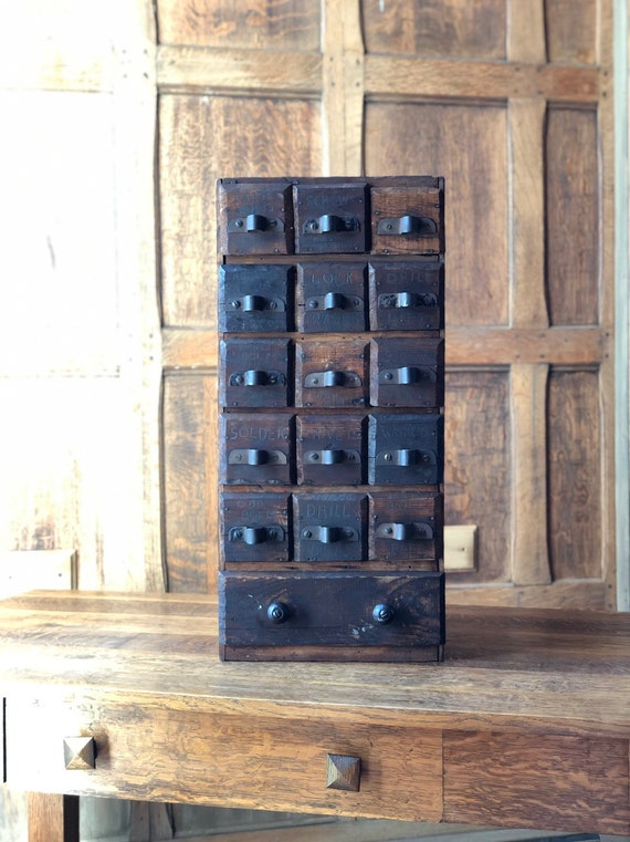Antique Cheese Box Drawer Unit, Organizer with Drawers, Vintage Jewelry Organizer, Small Apothecary Cabinet