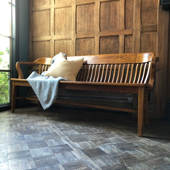 Antique Wood Bench, 1940s Oak Deacons Bench, Wood Entryway Bench, Farmhouse Bench, Courthouse Bench, Railroad Bench