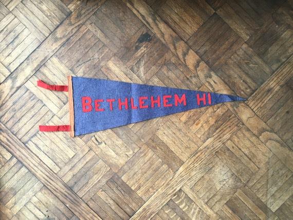 Vintage Bethlehem HI Pennant, Blue And Red Wool Felt Pennant Flag, Vintage Home Decor