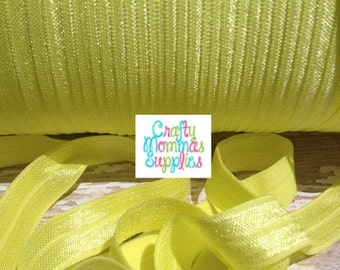 """ON SALE Yellow FOE, Pineapple Yellow, Fold Over Elastic, Solid Foe, 5/8"""" Wide, 5 Yards Wholesale, Elastic by the Yard, Baby Headbands, Hair"""