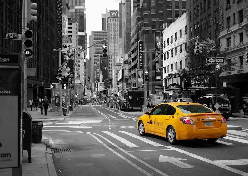 Giclee Print Urban Landscape Broadway Yellow Cab NYC Yellow Cab on B&W