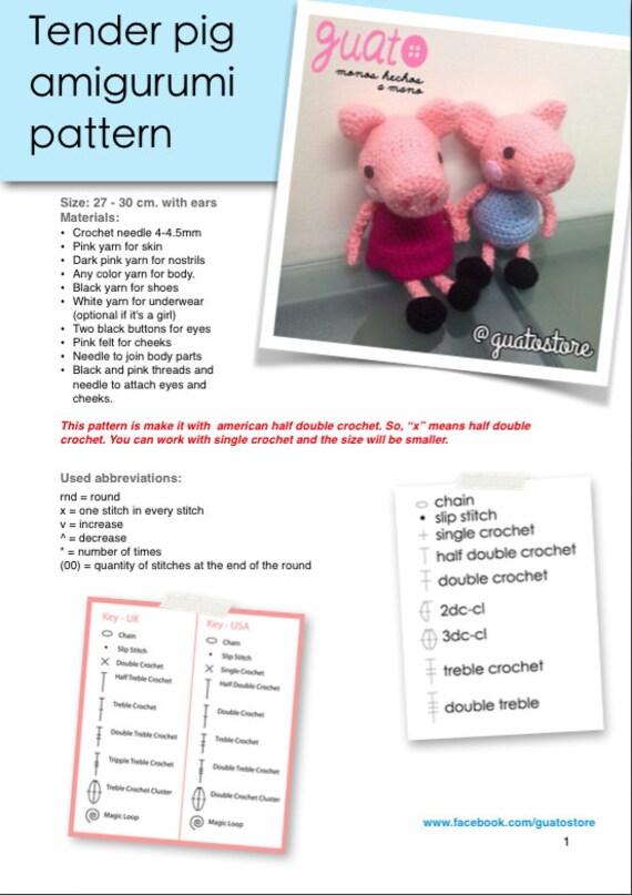 PEPPA PIG Amigurumi Pattern, Peppa Pig Patrón Amigurumi en 2020 ... | 807x570