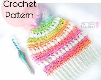 PATTERN- Bailey Beanie - Messy Bun Beanie Pattern - Slouch Beanie pattern - PDF download - Crochet Pattern