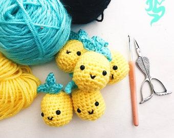 Summer Pineapple Keychain - Crochet Keychain - Kawaii Pineapples - cute keychain gift