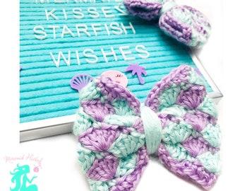 Seashell Kisses Bow - Toddler Bow - Crochet Bow