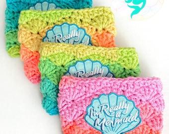 Mermaid Cup Sleeve - Cup Cover - Rainbow Crochet Cozy - I'm Really a Mermaid - Mermaid Gift Idea - Coffee Cozy