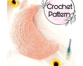CROCHET PATTERN - Luna Moon Pillow PDF - Pillow Pattern - Crochet Tutorial - Moon Pattern - Boho Moon Decor