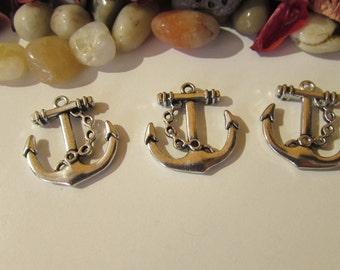 D-02201 - 3 Pendants anchor antique silver
