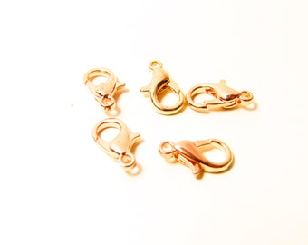 D-02035 - 5 Lobster claw clasps rosegold color 12x6mm