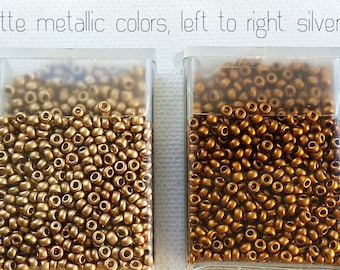 New Quantities Available! MATTE METALLIC Czech glass 11/0 seed beads - CHOICE - Silver, Gold, Brass, or Copper - 10 or 24 grams