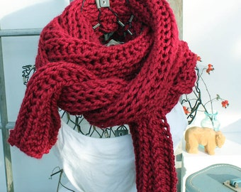 Red Chunky Knit Scarf Extra Large Red Chunky Knit Scarf Chunky Scarf The Ursus Tuscan Red Scarf 9 Ft Long Scarf Winter Fashion Accessory