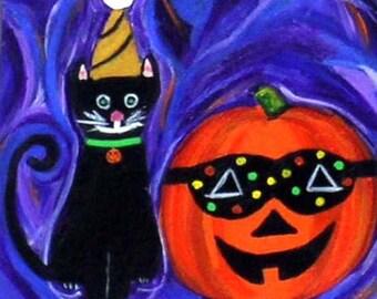 Cat & Jack O Lantern Painting Halloween Decor Original One of a Kind Acrylic Painting Folk Art Halloween Cat Jack-o-Lantern Acrylic Painting