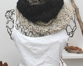 Black & Beige Colorblock Chunky Knit Cowl Chunky Knit Cozy Chunky Knit Neck Warmer The Boreal Colorblock Onyx Black and Bisque Fashion Cowl