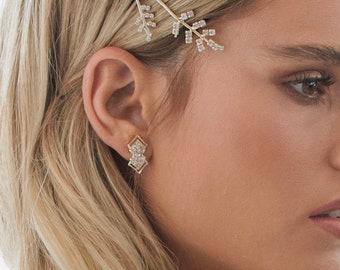 Bridal Silver Art Deco Stud Earrings, bridal earrings