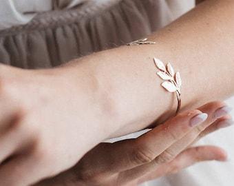 Open Cuff Bangle, GOLD Leaf bracelet, Bridal bracelets, Wedding Arm bracelet,  Brides accessories, Arm bands cuffs