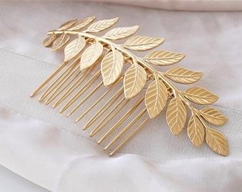 Leaf Hair Comb , Gold Leaf Hair Comb
