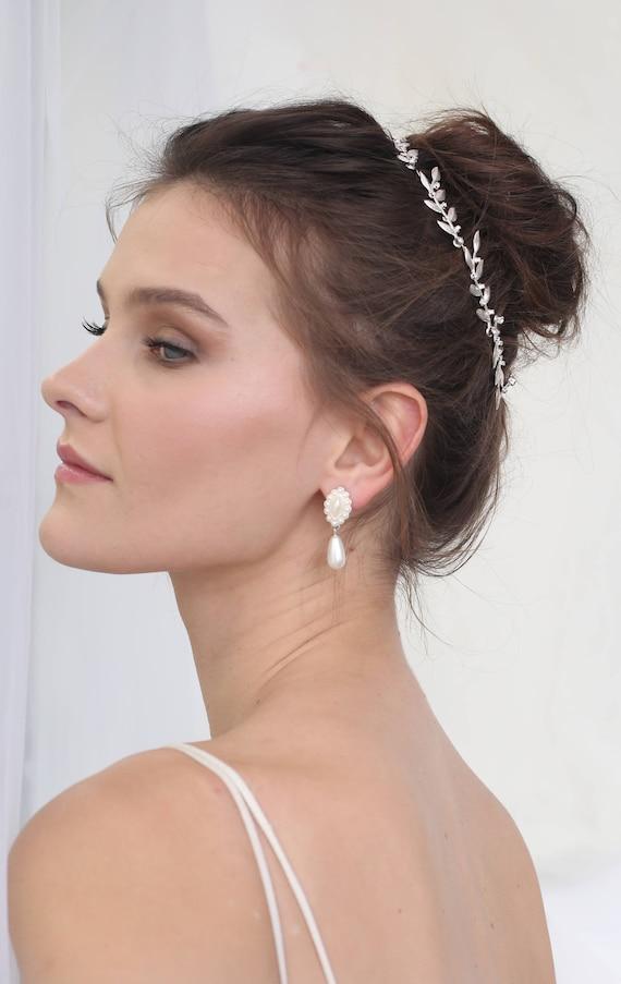 Bridal Hair Accessories Leaf Silver Tiara Wedding Hair Etsy