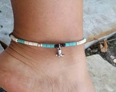 Ankle Bracelet, cute tiny cowboy boot charm on a howlite bead stretch bracelet.