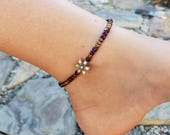 Ankle Bracelet, Bronze colored flower charm, Purlple Hematite beads,Bronze seed beads, stretch ankle bracelet.