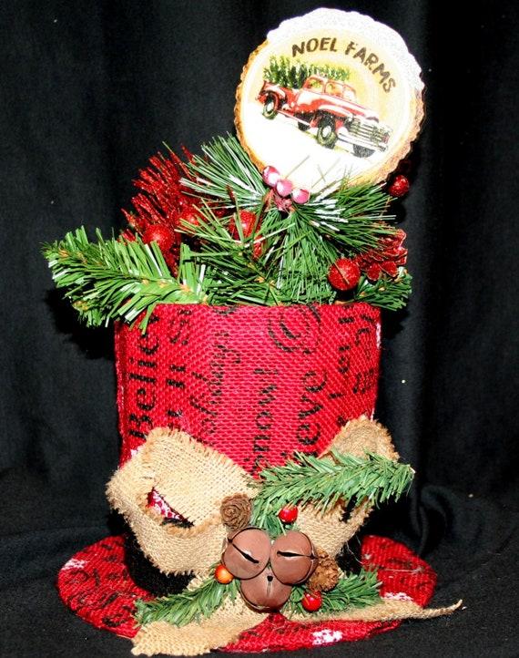 Christmas Top Hat.Burlap Christmas Top Hat Centerpiece Holiday Decoration
