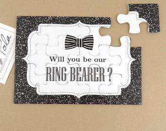 Be Our Ring Bearer, Proposal, Invitation, Stardust, Printed Glitter, Wedding, Gift, Black Bow, White Organza Pouch, NEW Improved Puzzles