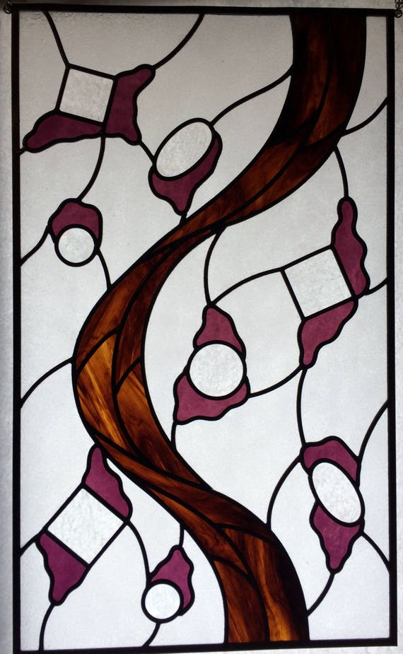 Stained Glass Abstract Design Framed Stained Glass Panel | Etsy