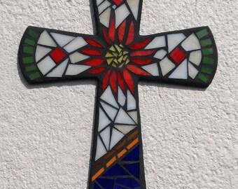 Colonial Wall Cross, Mosaic Cross, Original Wall Cross, Hand made Wall Cross, Colonial Wall Cross, Mosaic Wall Art, Unique Wall Cross