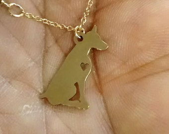 50pcs Dobermann Dog Antique Silver Charms Pendants For Jewelry Making 29*29mm
