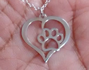 Pet Love - Engrave Pendant - Sterling Silver Jewelry - Gold Jewelry - Rose Gold Jewelry - Personalized Pet Jewelry - Pet Love Charm Heart