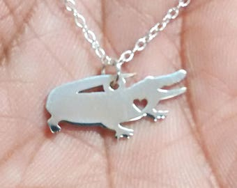 Alligator Necklace - Engrave Pendant - Sterling Silver Jewelry - Gold Jewelry - Rose Gold Jewelry - Personalized Pet Jewelry - Animal Charm