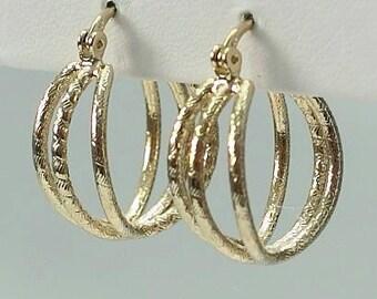 Gold plated 3 hoop earring