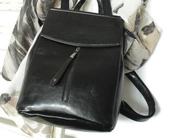 Ladies leather shoulder bag in black , Black leather convertible backpack , Leather shoulder bag, Leather satchel