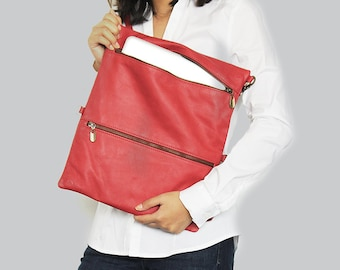 Red leather laptop sleeve with zipper , Red leather laptop bag, Laptop sleeve 13 , Laptop case , Macbook pro 13