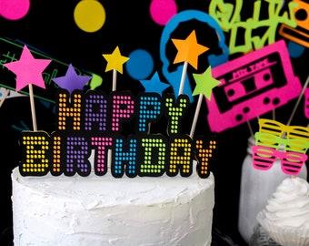Marvelous Neon Cake Topper Etsy Birthday Cards Printable Riciscafe Filternl