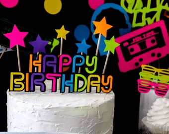 Swell Neon Cake Topper Etsy Funny Birthday Cards Online Alyptdamsfinfo