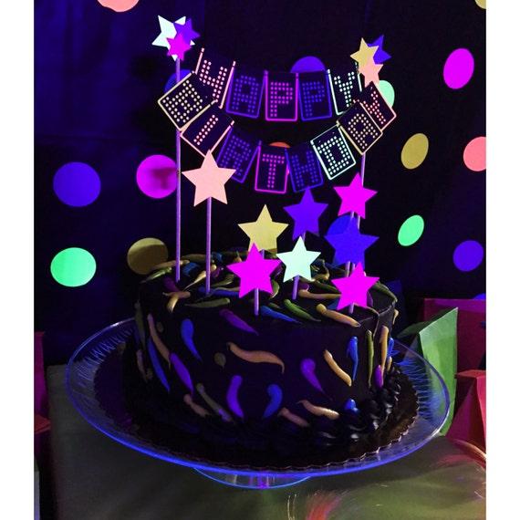 80s Cake Topper Neon Cake Topper Glow Cake Topper Neon Etsy