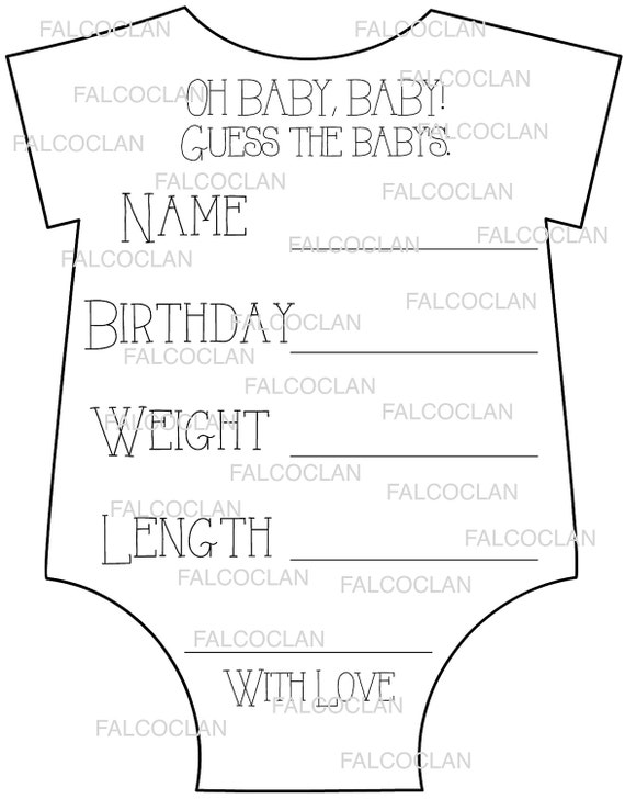 Baby Shower Games Baby Shower Game Baby Stats Guess The Due Etsy